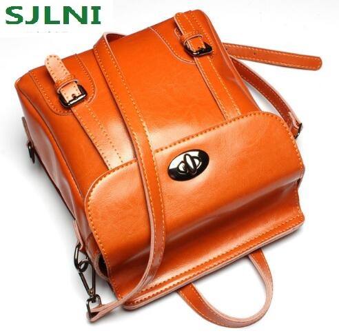 Vintage Genuine Leather Backpack Fashion England Style Backpack  Designer Real Skin Women Bag School bags for Teenager