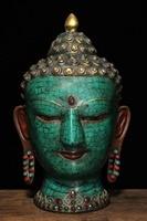 christmas 11 Tibet Buddhism Bronze Inlay turquoise Gem Shakyamuni Buddha Head bust statue halloween