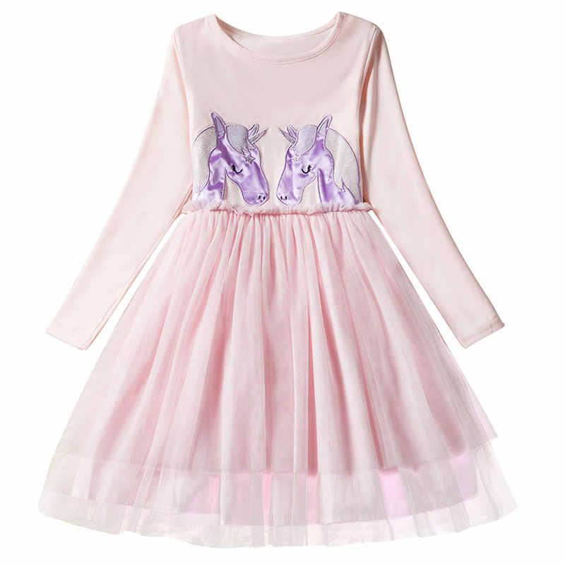 16fcf838373 Cartoon kids Girls dress 3-8T Unicorn kids dresses children's clothing long  sleeves baby kids