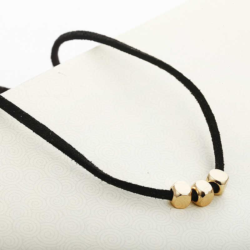 Dây Đen Vòng Cổ Choker Vàng Hình Vuông Đính Hạt Cổ Ngắn Vòng Đeo Cổ Cho Nữ Mùa Hè Cổ Sỉ Trang Sức Collier Femme X21