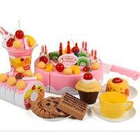75Pcs Set Plastic Kitchen Birthday Cake Toy Pretend Play Food For Children Girls