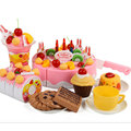 2016 Hot Sale 75Pcs/Set Plastic Kitchen Birthday Cake Toy Pretend Play Miniature Food Children Girls Gift