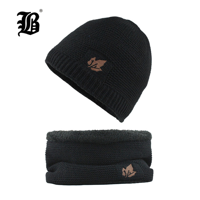 FLB  Skullies gorros invierno sombrero hecho punto Beanie bufanda hombres  sombreros de invierno para d5cc9e9ba395