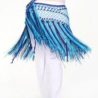 2017 Trajes de Danza Del Vientre Cadera Bufanda Danza Del Vientre Danza Del Vientre Cadera Bufanda Cinturón Sirena Argentina bicolor Corto-Chales con flecos
