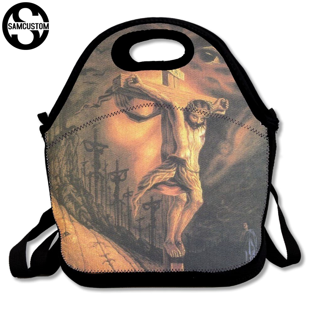 SAMCUSTOM jesus christianity Good Friday Lunch Bags Insulated Waterproof Food Girl Packages men and women Kids Boys Handbags