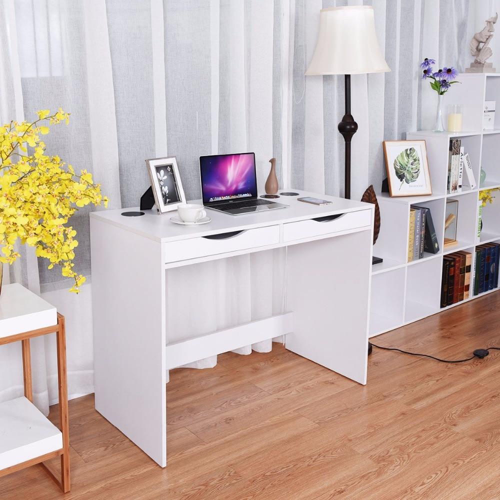 купить Giantex Modern Writing Computer Desk Bluetooth Speakers Drawer USB Charging Ports Commercial Furniture HW58278 по цене 6799.07 рублей