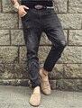 Hombres casual pantalones stretch cool hombre pantalones vaqueros de los nuevos hombres Agujeros rasgados pantalones estilo Coreano afluencia negro 2016 la primavera y el verano