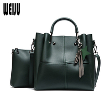 WEIJU New Women Shoulder Bag Fashion PU Leather 2 Pcs Composite Bags Fashion Handbags Women Bags Designer Tassel Large Tote Bag(China)