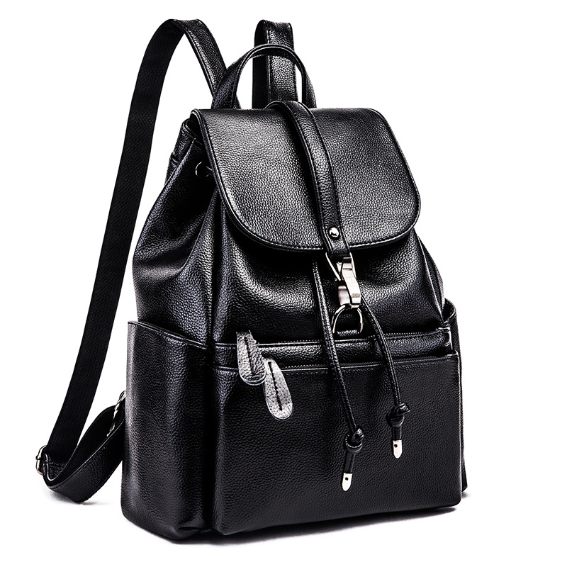 Genuine Leather Elegant Women Backpack Fashion Solid School Bags For Teenager Girls Large Capacity Casual Women Black Back C562 high quality pu leather women backpack fashion solid school bags for teenager girls large capacity casual women black backpack l