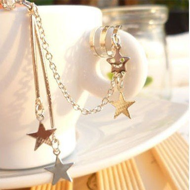 Long section Star Pendant ear clip Korean version of fashion style jewelry hot selling LM-C246