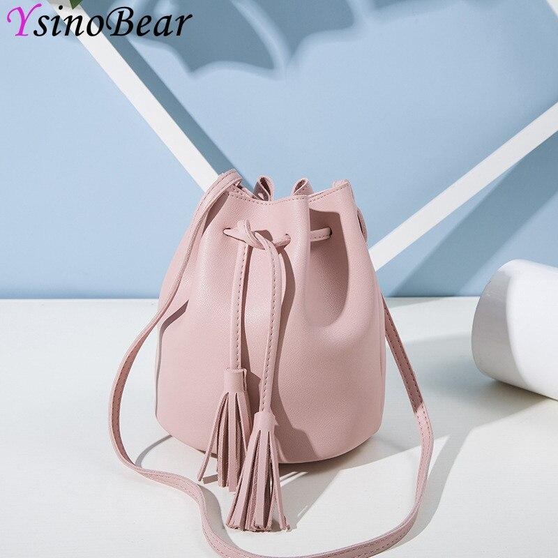 YsinoBear Модные кисточкой Crossbody сумки для женская обувь черного, розового цвета из искусственной кожи шнурок женские сумки на плечо ведерко жен...