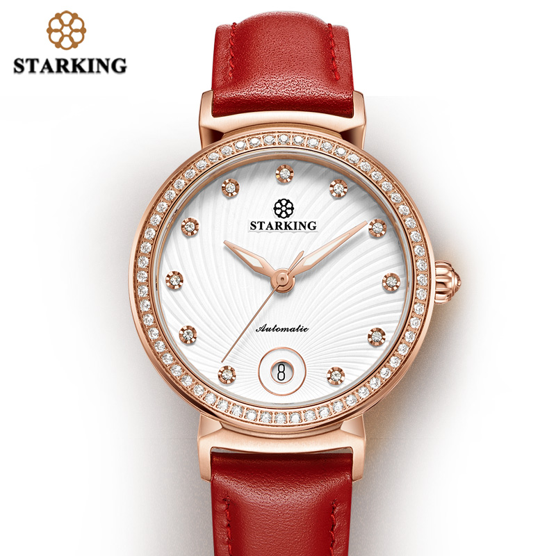 STARKING Womens Watch Top Brand Luxury Auto Date Mechanical Watch Red Leather Automatic Self-Wind Women Gifts Clock