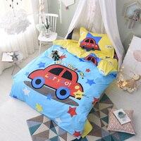 Red Car Stars Blue Print Bedding Sets Twin Size 3Pcs 160x210cm Flat Sheet Soft Cotton Bedlinen