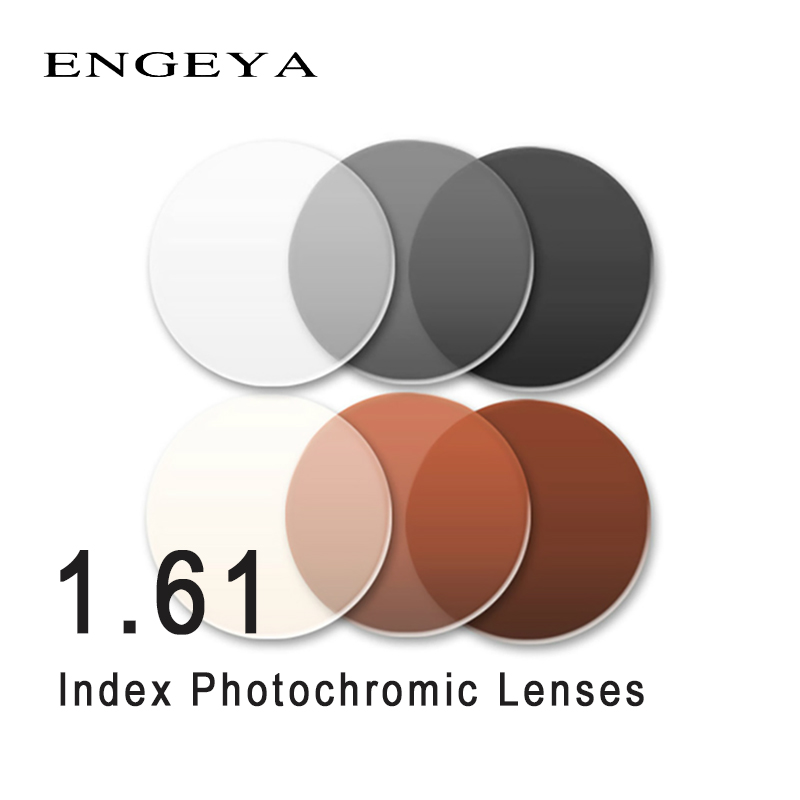 ENGEYA 1 61 HMC Prescription Photochromic Lenses Transition Grey Brown Lenses Optical Clear Anti Glare Sunglasses