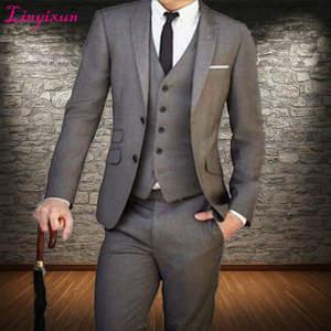 f3fdc6c1c0b52f Linyixun 3 pieces Men Suit Wedding Suits For Men Slim Fit