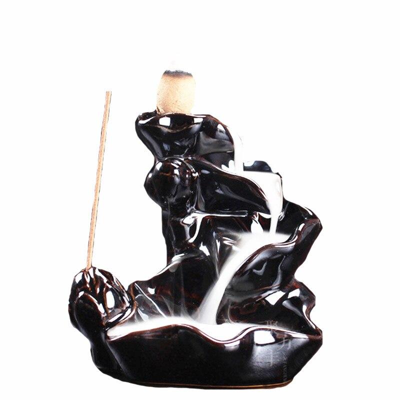 Avec 10 Pcs Encens Cônes Noir Porcelaine Refoulement En Céramique Cône Brûleur D'encens Porte Encens Encens Poêle Bouddhiste Cadeaux W $