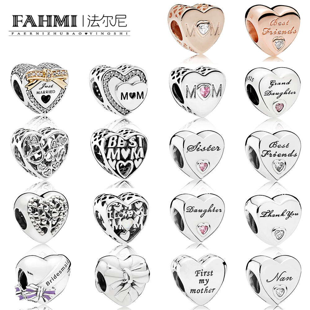 FAHMI 100% 925 Sterling Silver Heart-shaped Love Family Beaded Charm Suitable DIY Mothers Day Bracelet Gift Wedding JewelryFAHMI 100% 925 Sterling Silver Heart-shaped Love Family Beaded Charm Suitable DIY Mothers Day Bracelet Gift Wedding Jewelry