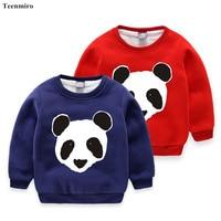 Bambini Hoodies Del Panno Morbido Felpa Ragazzi Ragazze Maniche Lunghe In Cotone Panda Magliette Dei Bambini di Inverno All'interno delle Parti Superiori Del Bambino Camicie
