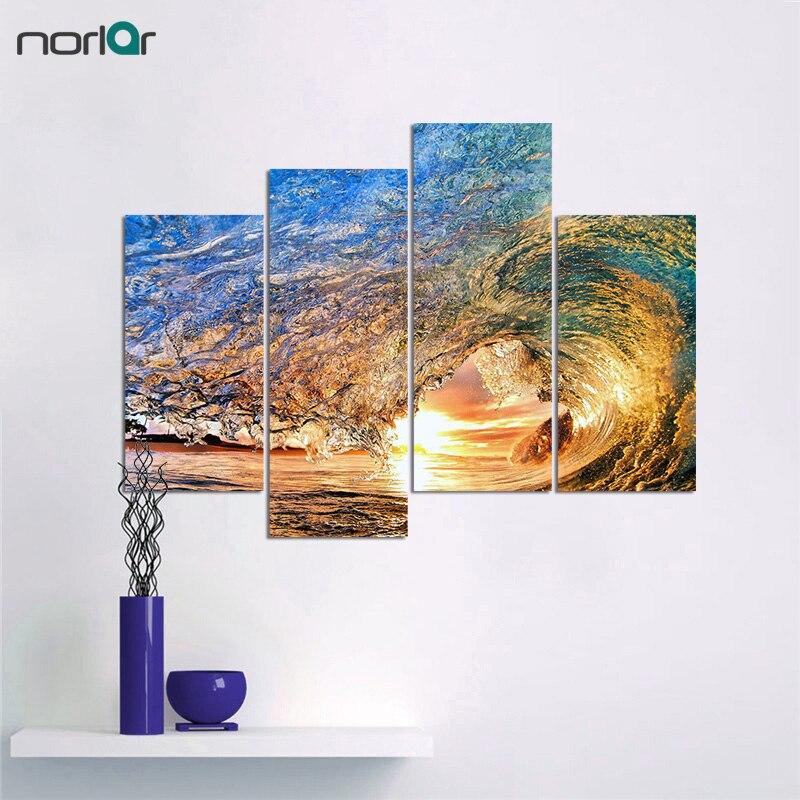 Unframed 4 Panels Eye of the Wave Seascape Obraz na plátně Nástěnné umění Domácí dekorace do ložnice Obývací pokoj Obrazy na plátně