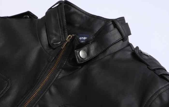 2018 新ロシアスタイルメンズファッションジッパー革のジャケットやコートスリムフィット男オートバイアビレックスレザージャケット男性服