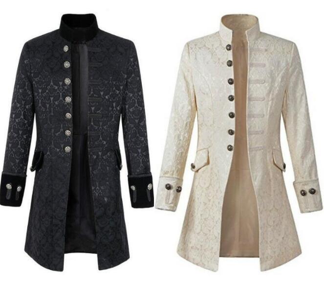 Adult Men Victoria Edwardian Steampunk Trench Coat Frock Velvet Outwear Solid Vintage Prince Overcoat Costume