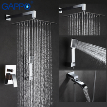 цена на GAPPO Shower system waterfall big shower chrome rain shower sets bathroom faucet tap wall mounted bath shower mixer