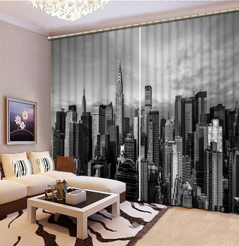 Luxury Blackout 3D Window Curtains For Living Room Bedroom Customized size black building curtains