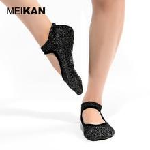 Серебряный балета терри yoga носки силикона non-slip танец sox пилатес спорт петлей куча сгустите тепловые носки