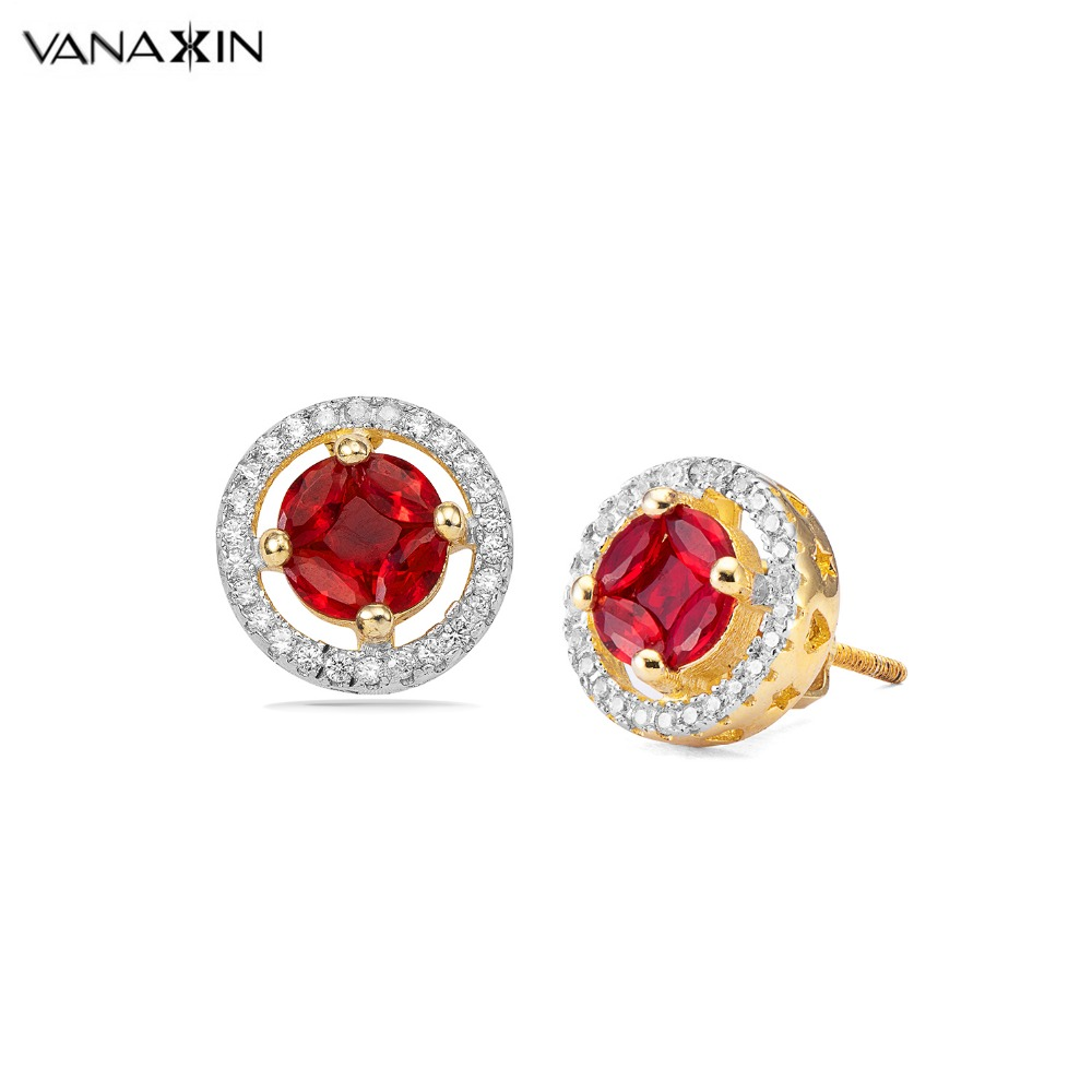 VANAXIN 925 Sterling Silver Women Hip Hop Gold Color Earring Iced Out Bling Rhinestone Red Blue