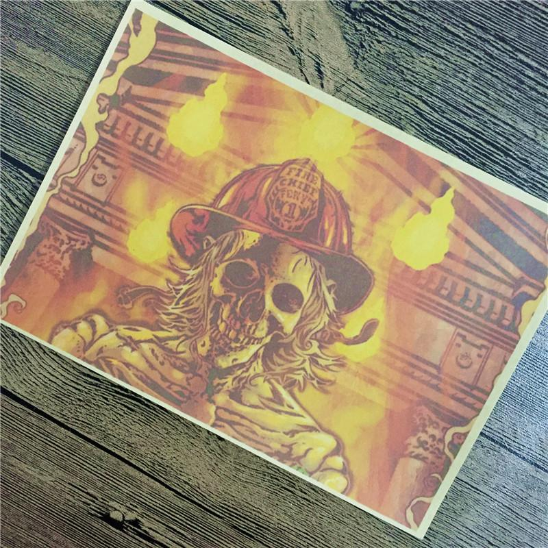 Top fashion CTF-173 back to the future kraft paper Skull firewall art Vintage poster pictures home decor for bathroom 42x30cm
