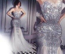 女性新キラキラシルバードレスセクシーなラインストーンシースルー服ナイトクラブ歌手白末尾ドレス誕生日祝う