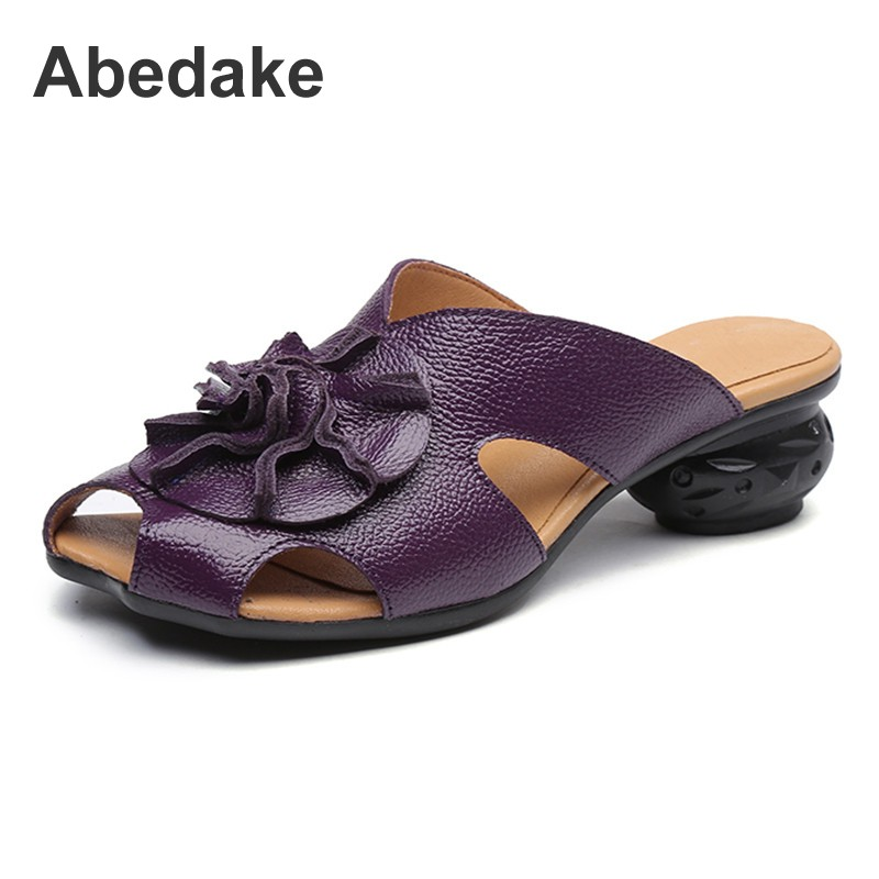 Abedake brand handmade woman slippers retro genuine leather flower casual sandals slippers fish mouth ethnic style women sandals цены онлайн