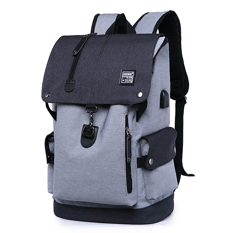 15 15.6 Inch with USB Interface Waterproof Nylon Laptop Notebook Backpack Bags Case School Backpack for Men Women Student Travel