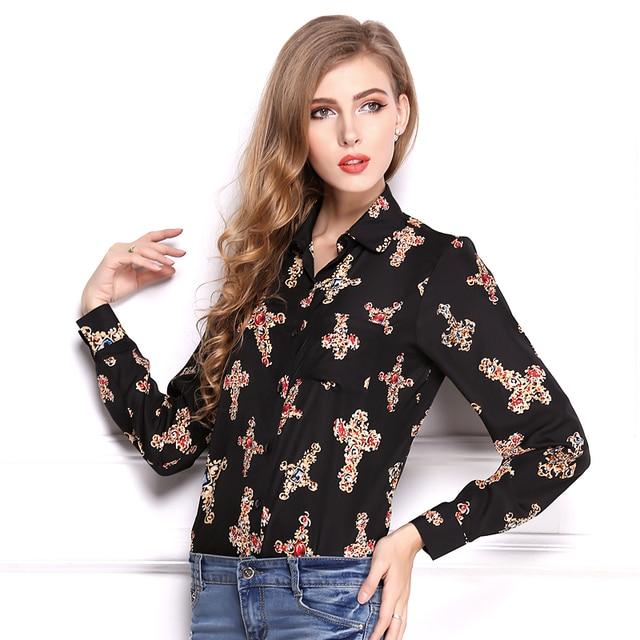 Для женщин одежда летние свободные размер и футболка с длинными рукавами с принтом Креста шифоновая рубашка.