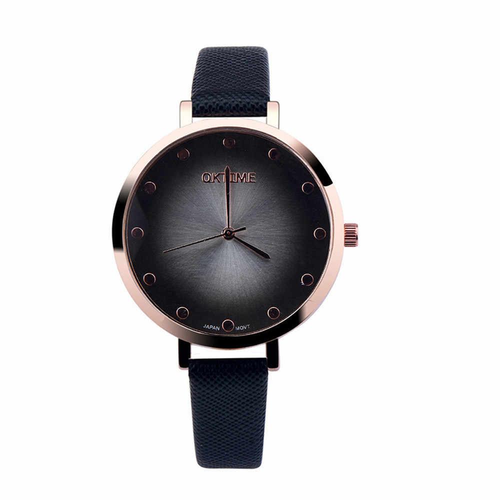 Línea de moda Casual mujer relojes mujer Ginebra marca damas vestido de mujer reloj banda de cuero analógico de cuarzo mujer reloj de pulsera