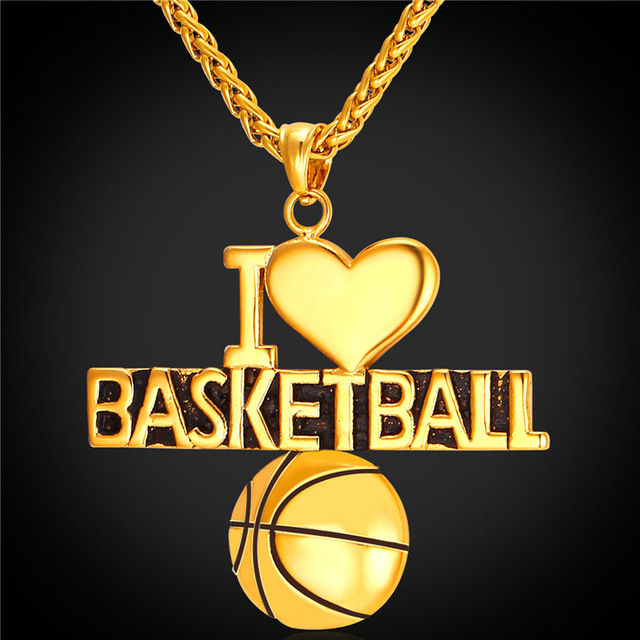 Basketball pendant charm necklace i love basketball sport jewelry basketball pendant charm necklace i love basketball sport jewelry stainless steelgold color chain for mozeypictures Gallery