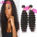 Brazilian Virgin Hair Deep Wave Brazilian Hair 2 Bundles Cheap 7A Brazilian Virgin Hair Deep Curly Weave Human Hair Extensions
