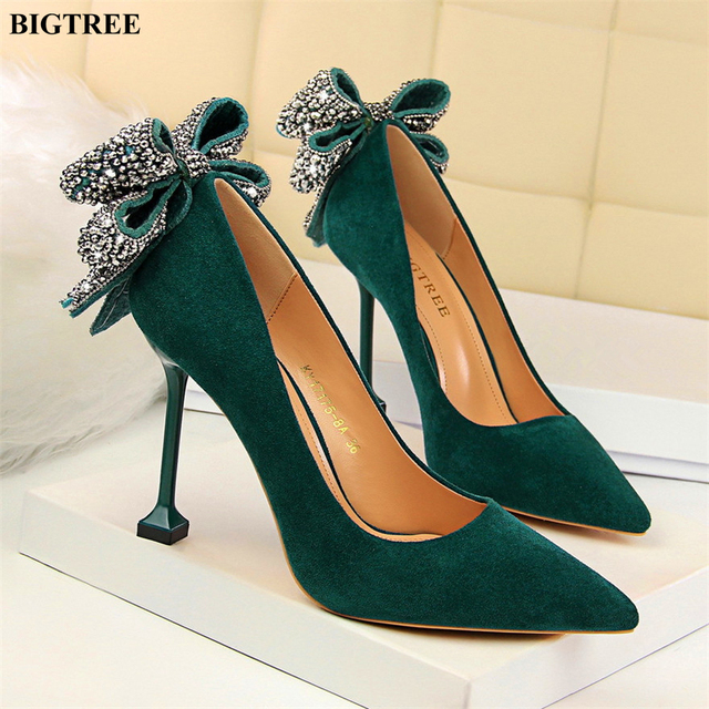 Sweet Crystal Butterfly-knot Women Pumps 2019 New Fashion Solid Flock Shallow High Heels Shoes Woman Sexy Poinetd Toe Party Shoe