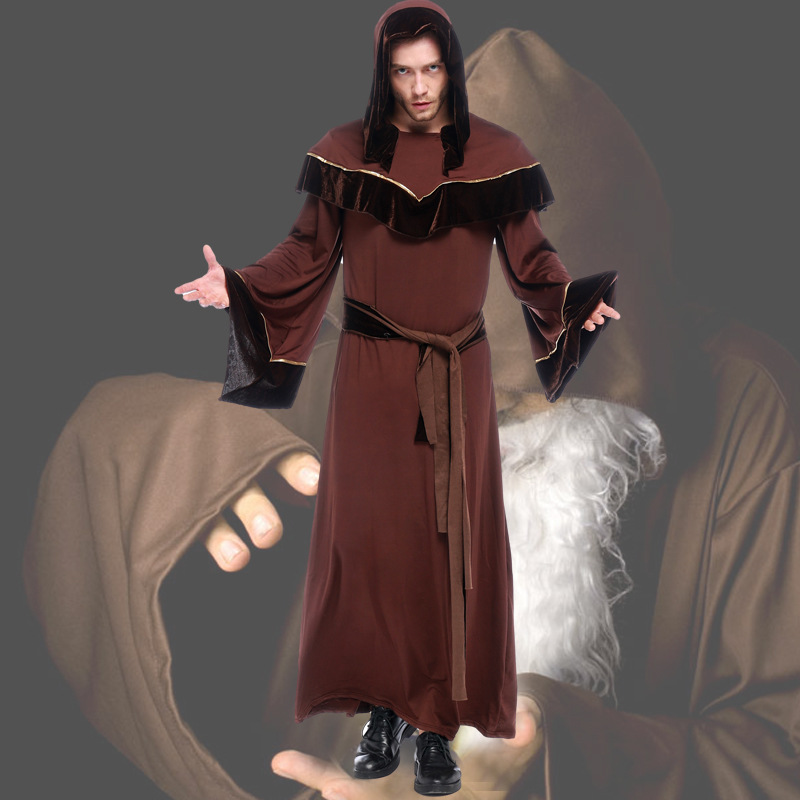 Halloween Costumes Adult Men Gothic Wizard Costume European Religious Men Priest Uniform Fancy Cosplay Clothing for Men