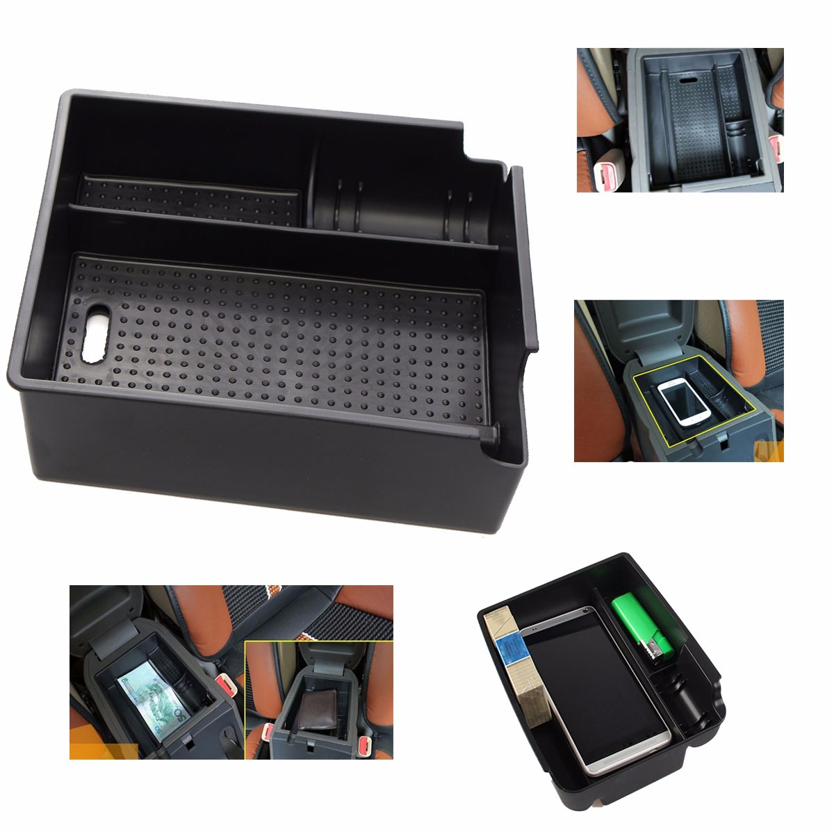 Car central armrest storage box glove box container for for 1 box auto