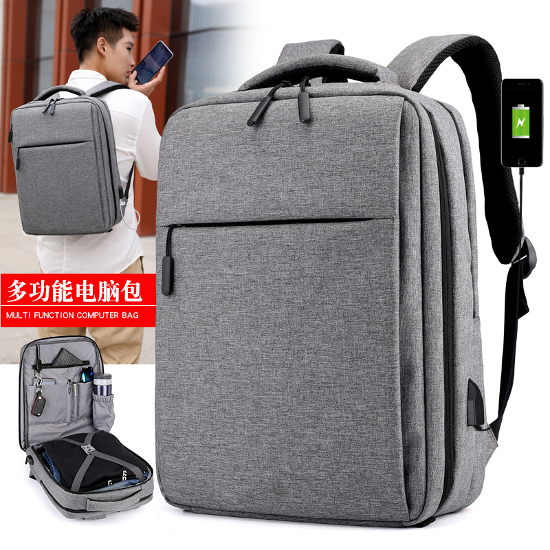 2018 New Mens Backpack Computer Bag For Apple Dell Xiaomi Laptop Bag Waterproof Shockproof Lenovo USB Charging Backpack Black