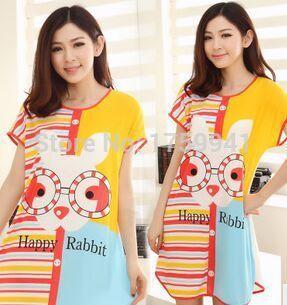 2017 Fashion NEW Soft  sexy cotton cartoon Birthday pattern   dress  nightgown   pajama  spring and autumn  Free Shipping