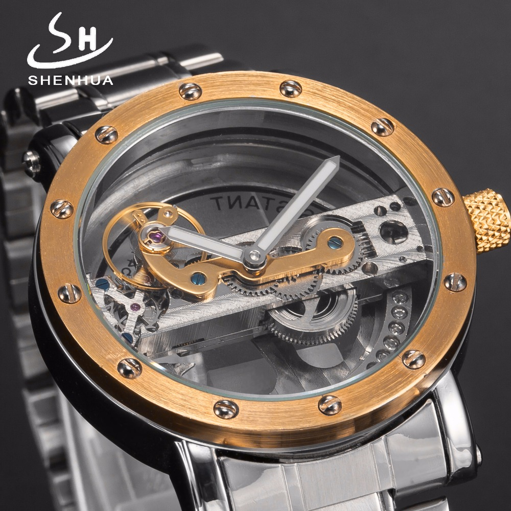 Luxury Skeleton Hollow Automatic Mechanical Self Wind Watches Men Full Stainless Steel Luminous Hands Men's Fashion Wrist Watch tevise men automatic self wind gola stainless steel watches luxury 12 symbolic animals dial mechanical date wristwatches9055g