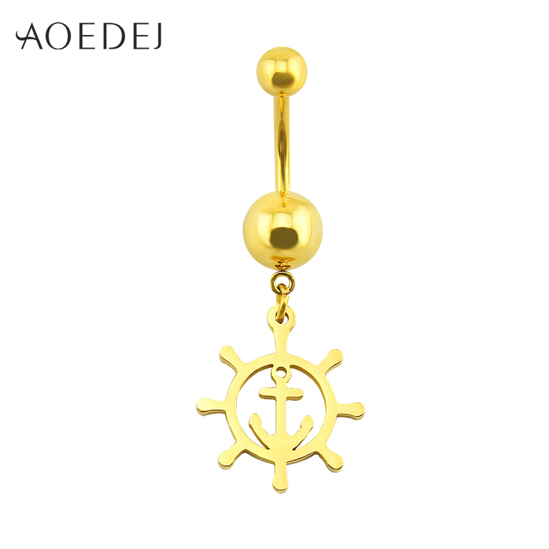 Helpful Aoedej Belly Button Ring Golden Anchor Rudder Shaped Dangle Barbell Navel Rings Stainless Steel Piercing Nombril Umbilical Nail To Suit The PeopleS Convenience Home