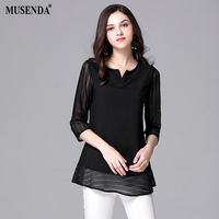 MUSENDA Plus Size Mulheres Preto Fino Patchwork Chiffon Blusa 2017 Outono Moda Feminina Casual Camisa Escritório Rua Tops
