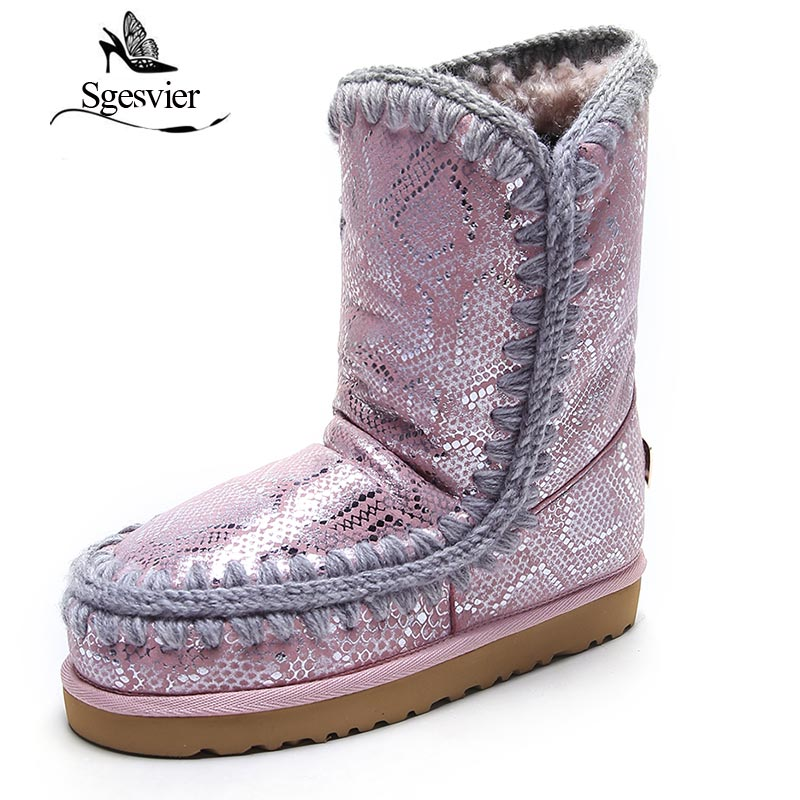 SGESVIER Top Quality New Fashion Leather Warm Snow Boots Ankle Boots Classic Mujer Botas Waterproof Winter Shoes for Women OX147 2017 new fashion women winter boots classic suede ankle snow boots female warm fur plush insole high quality botas mujer lace up
