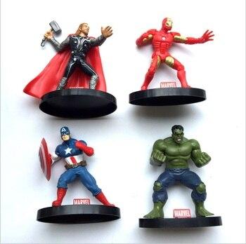 Marvel Action Figure Super Hero Hulk Captain America Thor Ironman PVC Avenger Vivid Doll Figurine Collectible toy with base SET figurine