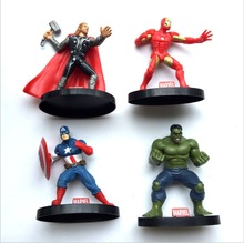 Marvel Action Figure Super Hero Hulk Captain America Thor Ironman PVC Avenger Vivid Doll Figurine Collectible toy with base SET