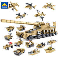 544PCS Military Vehicle 16IN1 Super Tank Army Building Blocks Sets  Soldiers Educational Toys for Children