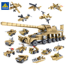 Kazi Building Blocks Toys Military Weapons 16 Assemblage1 Super Tanks Self-Locking Bricks For Children brinquedos educativos